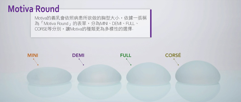 Motiva魔滴隆乳波力媚植入物不同義乳尺寸。Motiva Round,Movita的義乳會依照病患所欲做的胸型大小,依據一張稱為「Motiva Round」的表單,分為MINI、DEMI、FULL、CORSE等分別,讓MOTIVA的種類為多樣性的選擇.